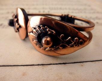 vintage copper bracelet - bangle, clamper, 1960s 1970s