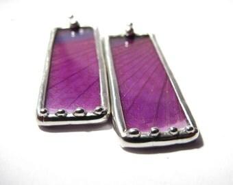 Real Purple Grasshopper Wing Earrings- Grasshopper
