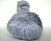 MOONSTONE Hand Dyed Yarn Merino and Tencel Lace Weight Silver Gray - spinningmulefibers