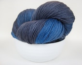 MIDNIGHT Hand Dyed Yarn MCN Sock Weight Black and Blue - spinningmulefibers