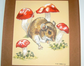 Vintage Mouse and Mushrooms Nature Painting Book Plate Original Signed Art