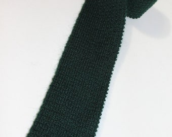 """vintage 60's - 70's Men's knit neck tie by Rooster. Mohair - Wool blend. 3"""" width. - Heathernit - in Forest Green"""
