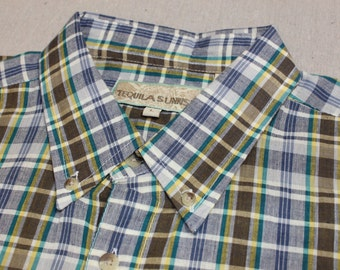 vintage 1980's Men's Madras short sleeve shirt. 'New Old Stock'. Button down collar & locker loop. All cotton. Large