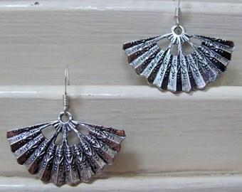 Antique Silver Oriental Fan Earrings