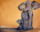 """Family Elephant Art Print, Limited Edition of 50, 11"""" x 14"""" Parent and baby elephants, Poster Print, Laura Sue Peters"""