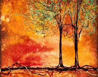 Pair of Abstract Trees Modern Nature Wall Art Couple Trees Love Gift Two sizes