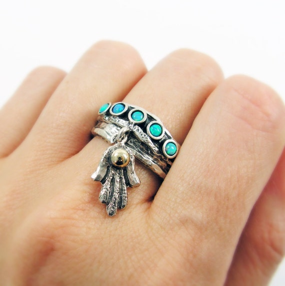 Items Similar To Opal Ring Exquisite Braided Opal: Items Similar To Sterling Silver Opals Ring. Hamsa And 9k