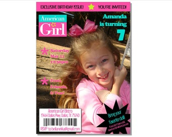 Printable American Girl Magazine Cover Invitation - custom personalized - DIY - colors can be changed
