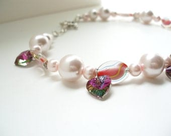 Pearl Heart Choker, Pink Necklace