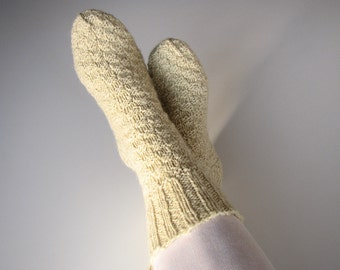 Undyed Unbleached White Hand Knitted Woolen Socks - 100% Natural Organic Clothing