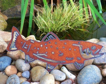 Metal Trout Swimming Father's Day Gift Outdoor Fish Pond Garden Metal Art