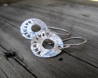Personalized earrings, names, dates, words of inspiration - sterling silver hand stamped, mom,mothers, grandma,grandmothers earrings