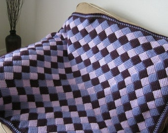 Purple Lilac Lavender Crochet Baby Blanket Afghan - MADE TO ORDER - Handmade - Tunisian Crochet
