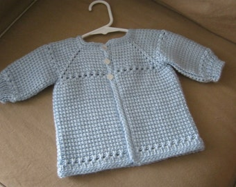 Crochet Baby Boy Sweater - Blue - MADE TO ORDER - Tunisian Crochet - Handmade