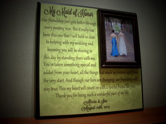 Custom Maid Of Honor Picture Frame Wedding By YourPictureStory