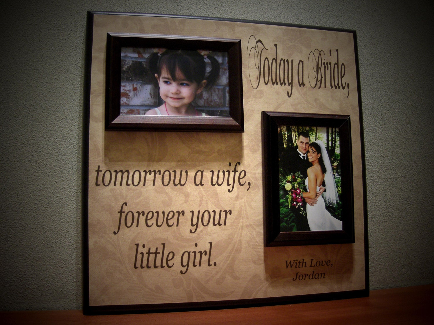 Today A Bride Tomorrow A Wife, Personalized Picture Frame