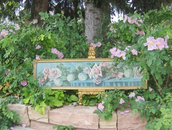 Antique Victorian Yard Long Lithograph Roses and Hydrangeas Gold Gilt Wood Frame Shabby Pink and Blue