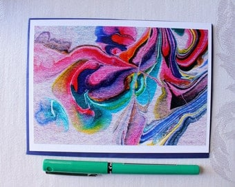 """Blank Notecard, Abstract Art Card with envelope, """"Streams of Color no. 4"""""""