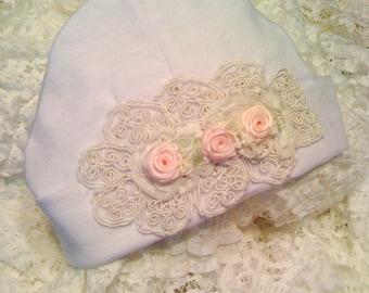 Girl Beanie Hat Newborn Girl Baby Hospital Hat Layette Newborn thru 3 months  Accessories Hats & Bonnets