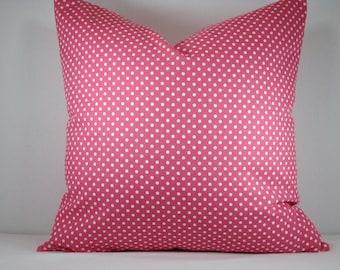 Candy Pink Dot Pillow Modern Pink and White Dot  Pillow Accent Pillow 18x18 Pillow Cover