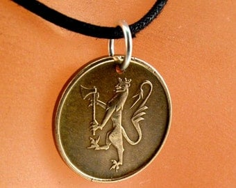 Norwegian NECKLACE.  Norway coin pendant. ore . copper. lion coin . Norge. number 5 Choose Year  No.001300