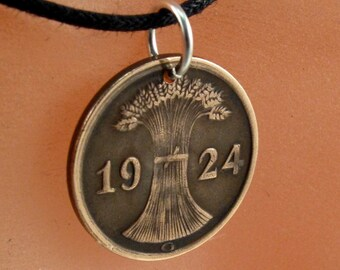 ANTIQUE GERMAN necklace pfennig Germany jewelry Deutschland Charm Pendant. reich. wheat sheath. number 2 .1924 No.001305