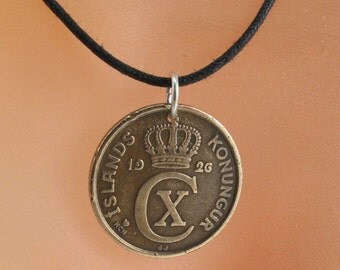 ICELANDIC COIN NECKLACE . iceland coin jewelry. pendant crown emblem . aurar. number 5 . charm No.001307
