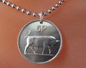 Bull necklace . irish jewelry.  Ireland pendant..  bull market.  No.00420