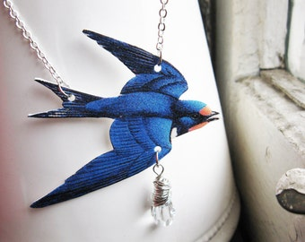 Animal Necklace Blue Bird Swallow Trend with White Crystal