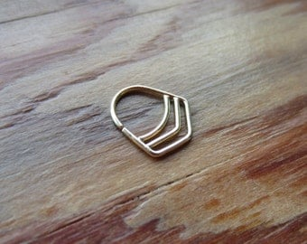 Chevron : Gold Nose Ring .. Septum Jewelry .. Nose Hoop .. 14K Gold .. Aprilsblissed .. Nosebling .. Unique Modern Nose Ring