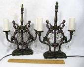 Table Lamp Antique Girandole Crystals Cast Metal Black Pewter Finish Pair 1920s Deco Candelabra