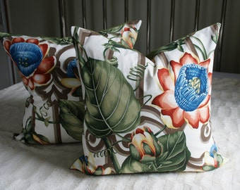 SET of TWO Floral Decorative Pillow Covers - 20X20