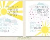 11x14 Set of 2 You Are My Sunshine & You'll Never Know Dear Prints