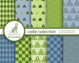 St Patrick's Day Digital Paper - INSTANT DOWNLOAD - Celtic Paper Pack - Irish Digital Design