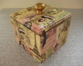 Madame Paris Wooden Trinket / Jewelery Box handmade