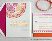 Letterpress Hindu Indian Morrocan Pink and Yellow Wedding Invitation