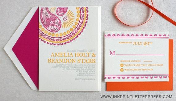 Letterpress Hindu Indian Morrocan Pink and Yellow Wedding Invitation