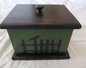 Crow Perched On A  Picket Fence Gothic Upcycled Keepsake Jewelry Box