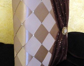 "Personalize Wedding Photo Album, Bridal Photo Album, Bridal Shower Gift, 208 - 4"" x 6"" Photos  with Swarovski Crystals, Custom Made to Order"
