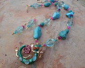 Turquoise and Aquamarine Necklace and Earring Set with  Aqua Gecko  Pendant