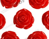 XLarge Red Flower Cabochons/Beads, Rose Beads, Flower Beads, Chunky Flower Beads 34mm x 21mm (R5-053)