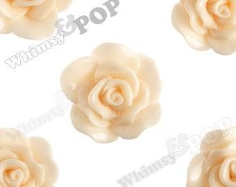Large Shabby Chic Peach Rose Cabochons, Flower Cabochons, Flat Back Embellishment, Rose Flatback, 30mm x 28mm (R3-066)