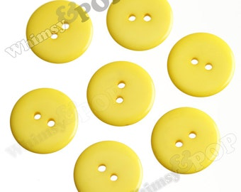 25 - Yellow Buttons for Sewing Scrapbooking and More, 23mm Buttons, Sewing Buttons, 2 Hole Buttons, Colorful Kids Craft Buttons (R2-116)