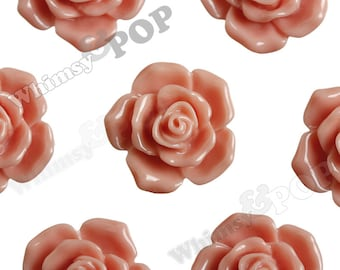 16mm Pointy Rose Coral Peach Flower Cabochons, Flower Cabs, Rose Shaped, Rose Cabochons, Rose Flatback Embellishments (R3-115)