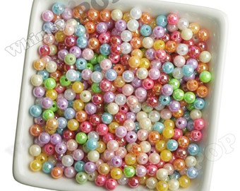 6mm - 100 PACK of  AB Mixed Colors Acrylic Round Beads,  Mini Gumball Beads, 6mm Beads, 1mm Hole