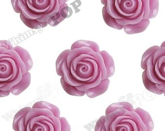 3 - Super Large Detailed Lilac Purple Rose Cabochons, Deco Resin Cabochons, 30mm Rose Cabochons, 30mm x 29mm (R5-023)