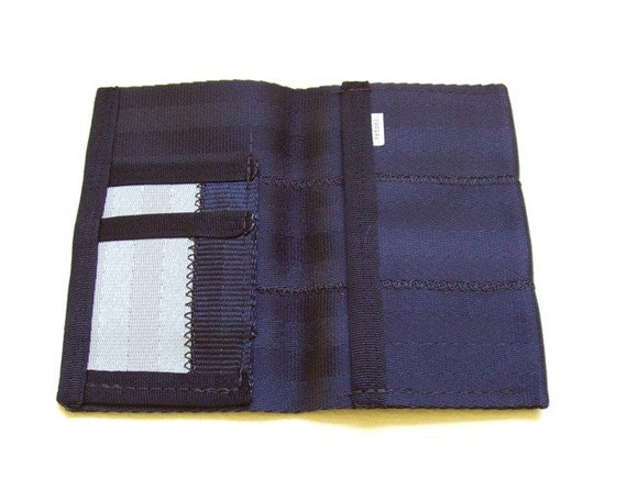 Vegan passport wallet made of seatbelt webbing - black and silver