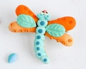 Dragonfly brooch - Fun insect jewelry - Woodland animal pin -Gift for nature lovers - Blue and orange