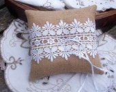 Natural Burlap/Hessian Ring Bearer Pillow/Cushion with White Guipure Lace