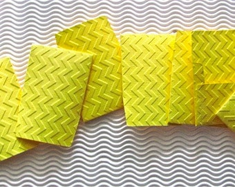 15 teeny tiny miniature square envelope mini note sets yellow embossed chevron stationery party favors weddings guest book table number